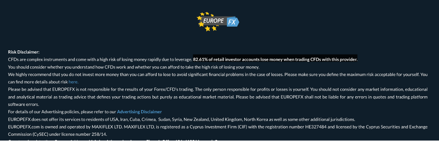 EuropeFx Avis | Risk disclaimer - screen capture from EuropeFX homepage website, https://europefx.com, June 25, 2020 Mikov & Attorneys | Financial Fraud Lawyer Avocats litiges Financiers